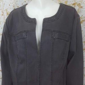 Catherines embellished faded denim jacket size 1X